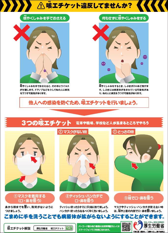 咳やくしゃみの飛沫により感染する感染症は数多くあります。「咳エチケット違反していませんか?」 南港病院