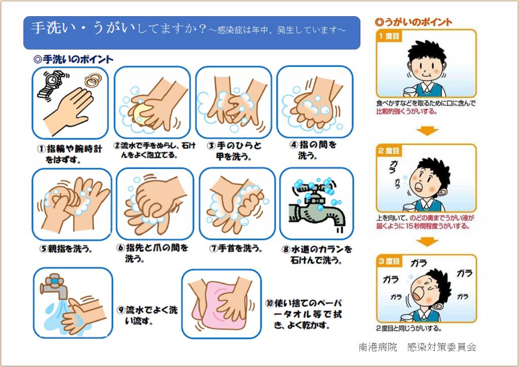 手洗いうがいは感染症を予防する基本となります。「手洗い・うがいしてますか?」 南港病院